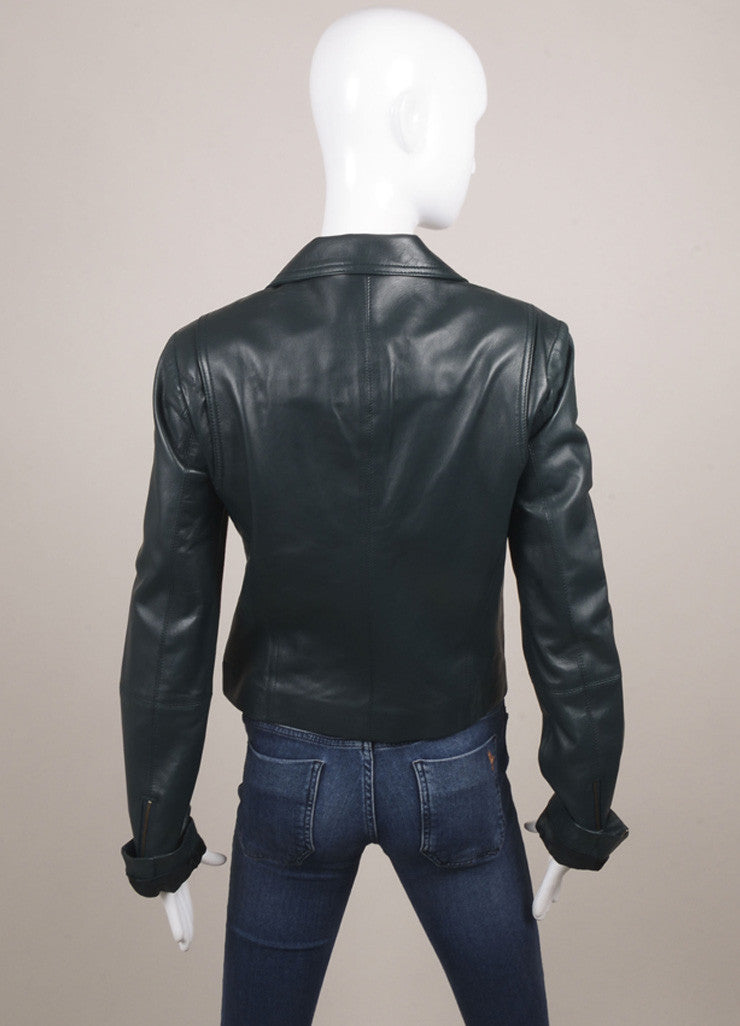Veda Hunter Green Leather Moto Jacket Backview