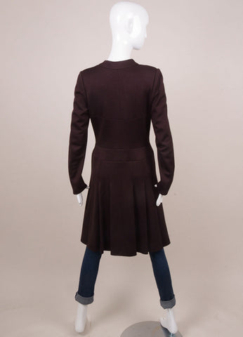 Chanel Maroon Button Front Long Sleeve Dressy Coat Backview