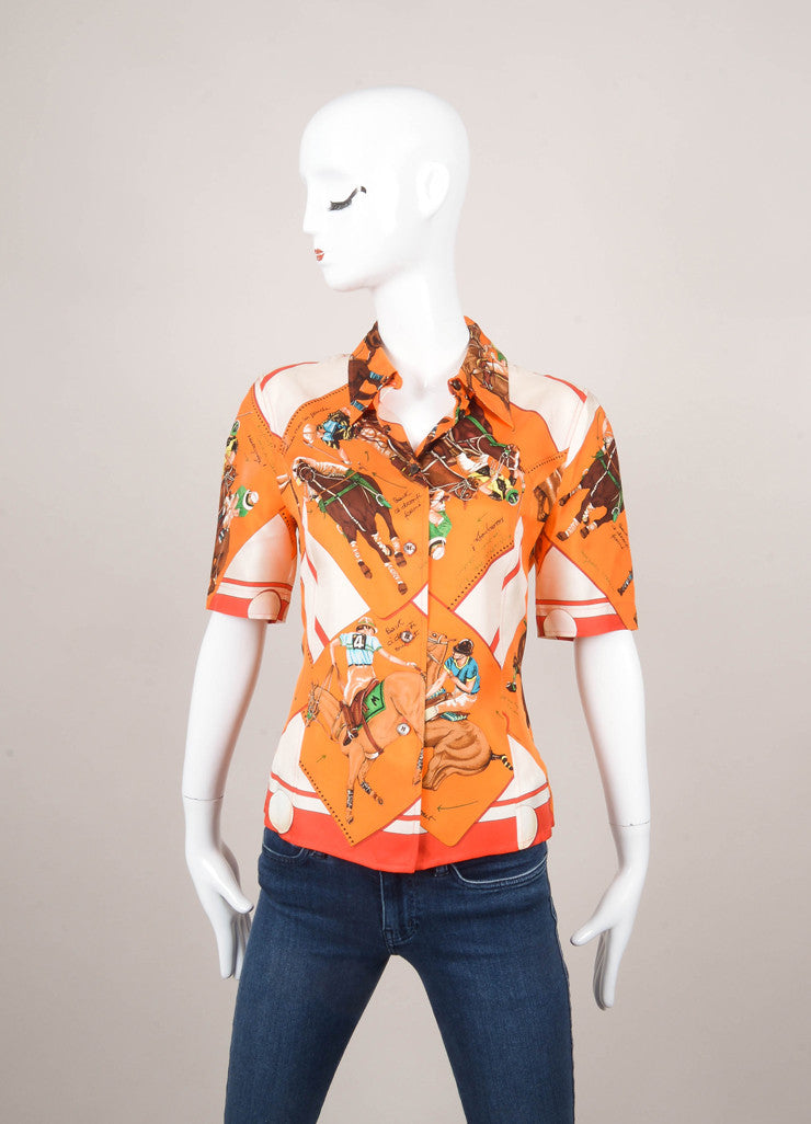 Multicolor Equestrian Print Short Sleeve Silk Blouse