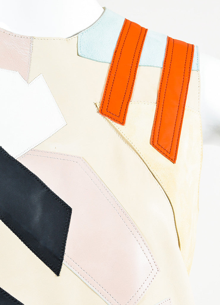 "Acne Studios Multicolor Leather Suede Patchwork ""Helima"" Dress Detail"