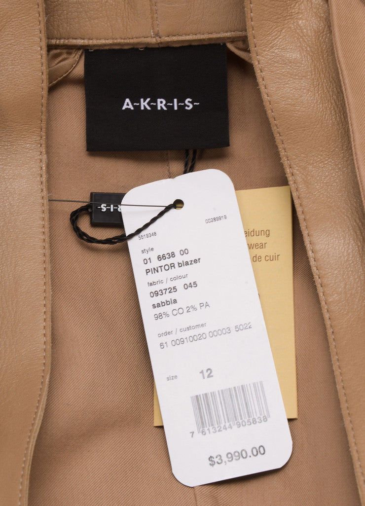 Akris New With Tags Tan Knit Leather Trim Long Sleeve Blazer Brand