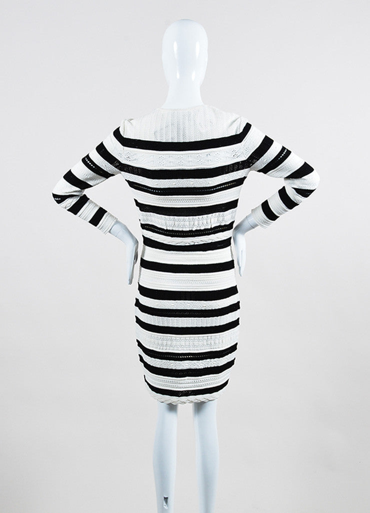 Black and White Alexander McQueen Open Knit Striped Sweater Dress Backview