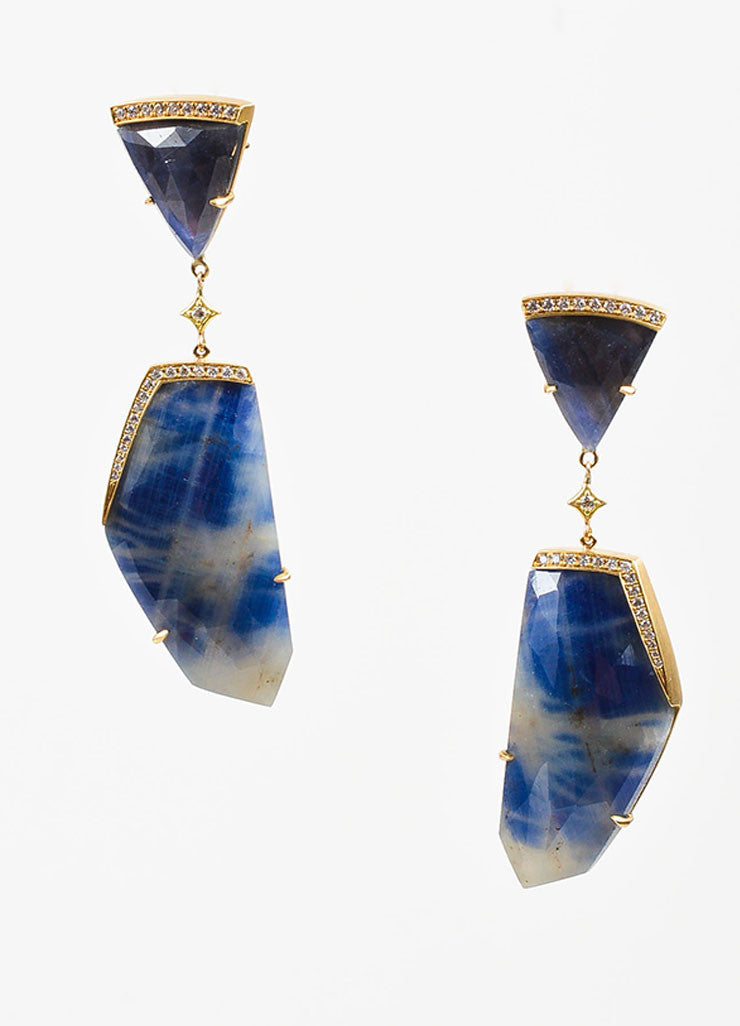 Anahita 18K Yellow Gold, Sliced Sapphire, and Diamond Geometric Drop Earrings Frontview