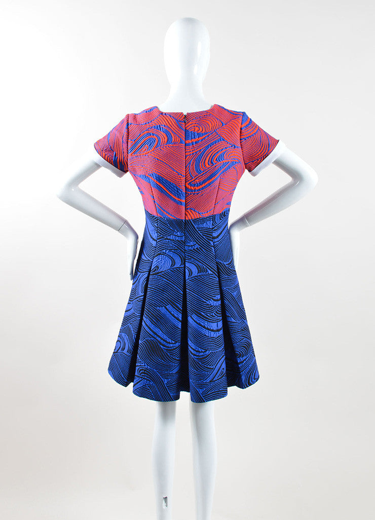 Andrew Gn Blue and Red Woven Mattelasse Pleated Dress Backview