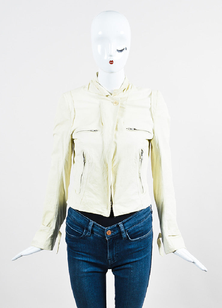 Cream Ann Demeulemeester Leather Crinkled Distressed Moto Jacket Frontview 2