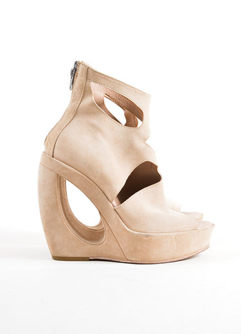 Ann Demeulemeester Tan Suede Open Toe Cut Out Structural Wedge Booties Sideview