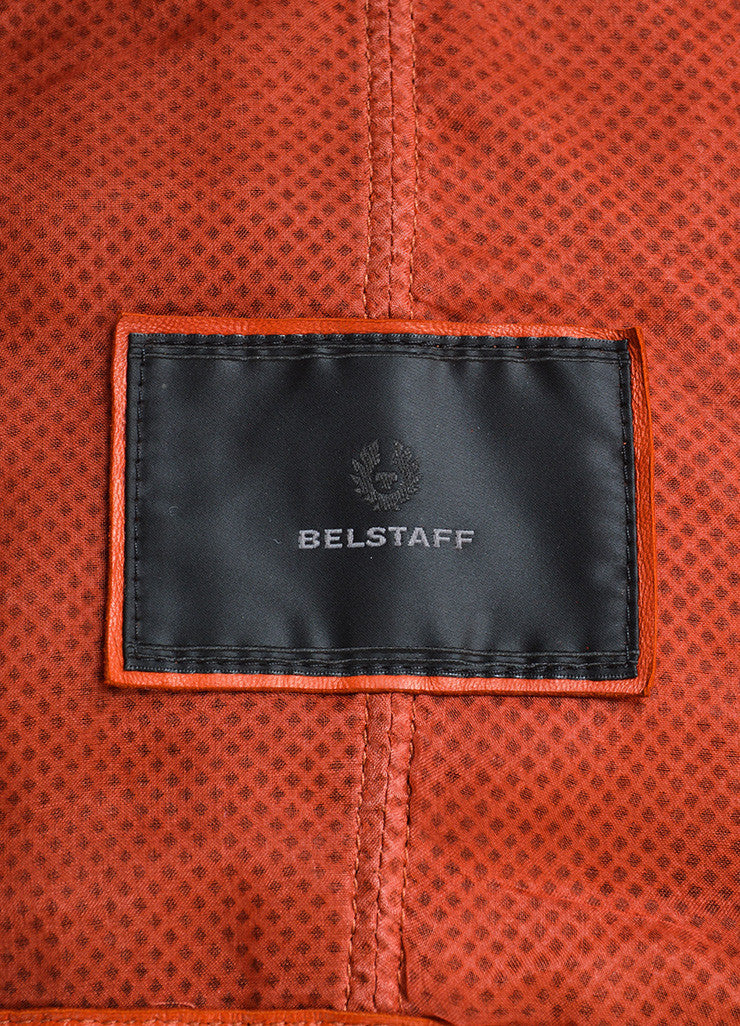 Belstaff Rust Red Leather Perforated Belted Mid Length Long Sleeve Safari Jacket Brand