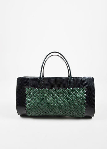 Bottega Veneta Green and Black Woven Leather Snakeskin Trim Two Compartment Handbag Frontview