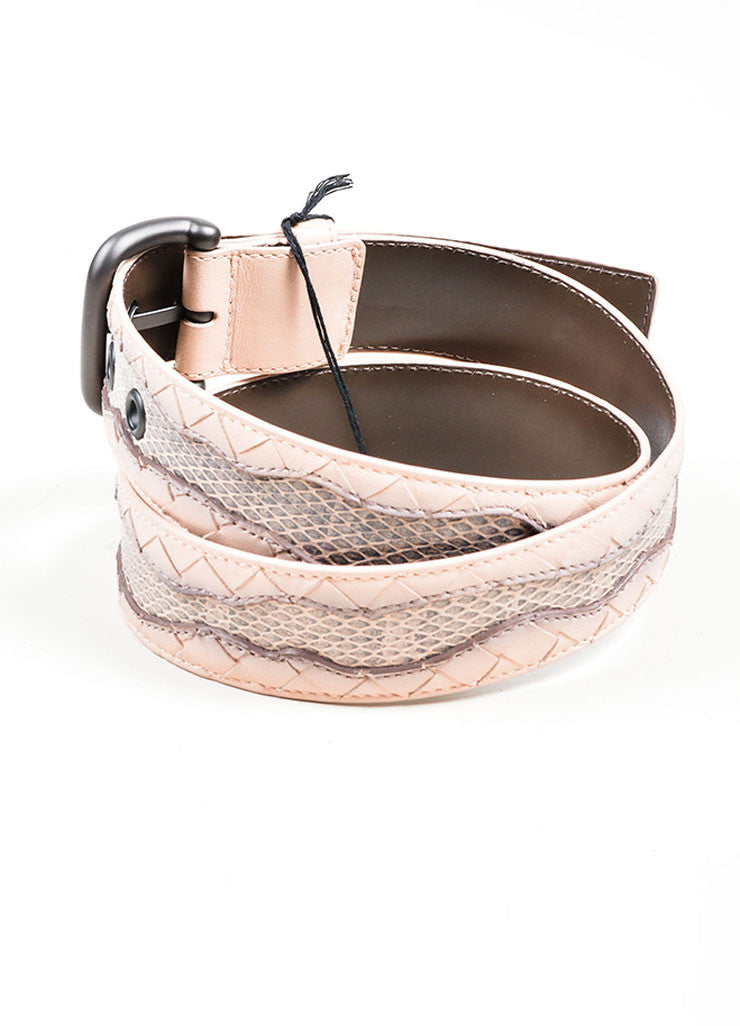 Pink Bottega Veneta Intrecciato Leather Woven Trim Buckled Belt Sideview