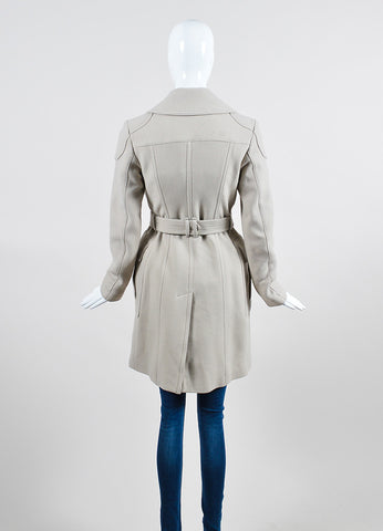 Beige Burberry Brit Double Breast Belt Trench Coat Backview