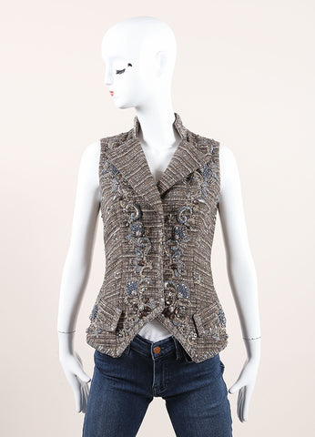 Carolina Herrera Taupe and Blue Wool Tweed Beaded Embroidered Tailored Vest Frontview