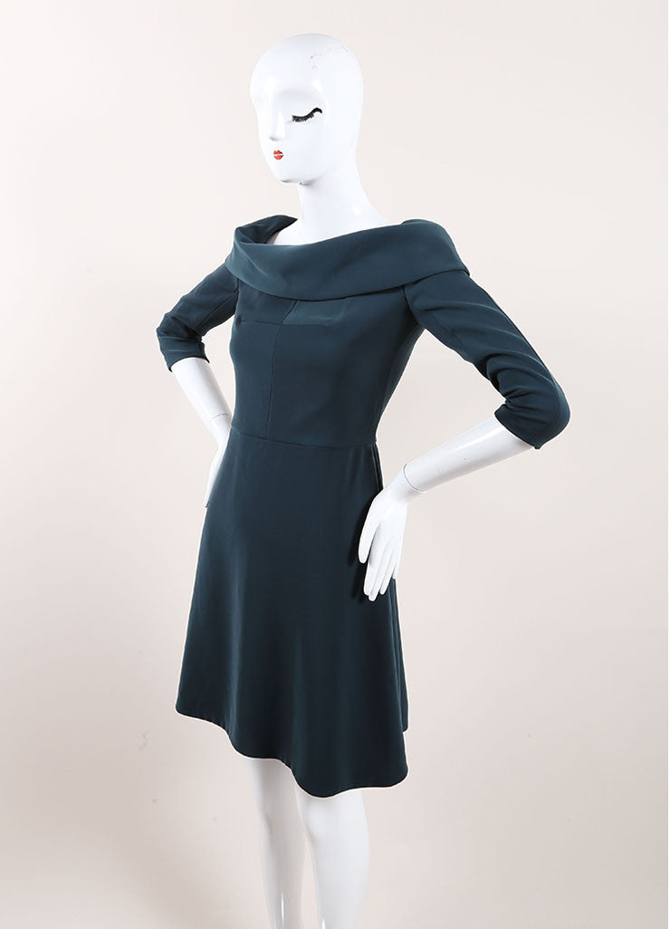 Carven Dark Teal Cuffed Off Shoulder Quarter Sleeve Dress Sideview