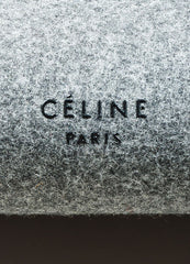 "Black and Grey Wool and Felt Top Handle Celine ""Belt"" Flap Bag Brand"