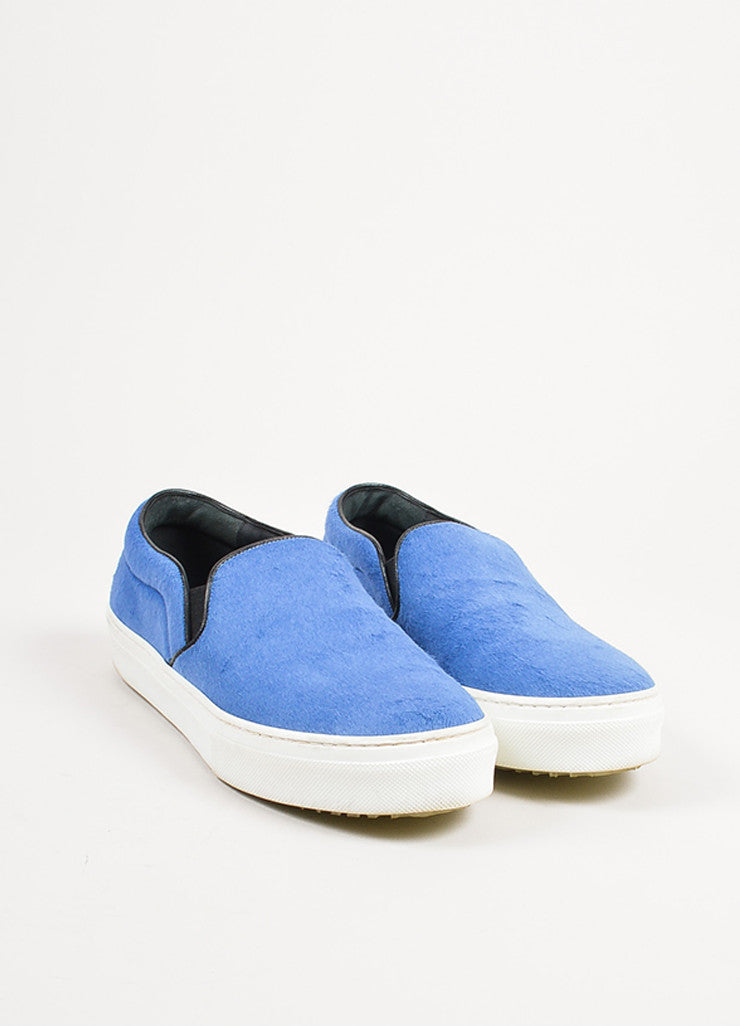 Celine Blue, Black, and White Pony Hair Flatform Slip On Sneakers Frontview