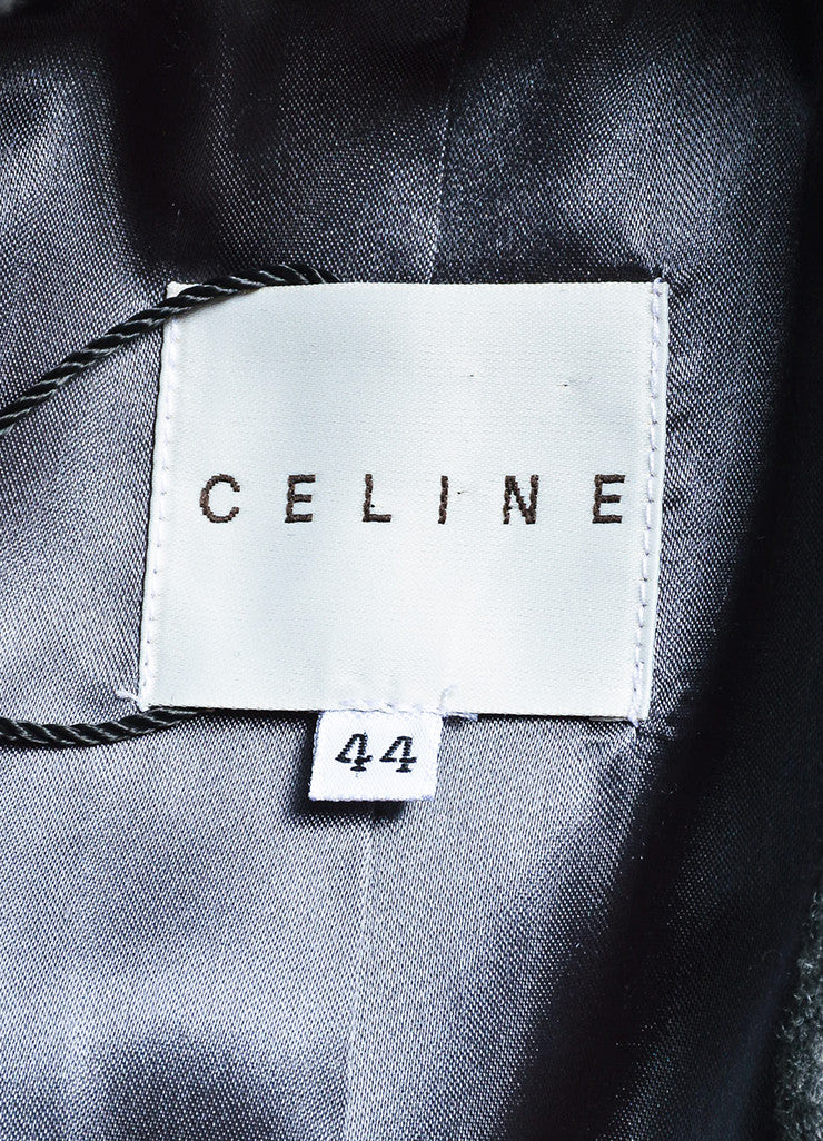 Celine Grey Wool and Cashmere Jewel Cluster Button Double Breasted Coat brand