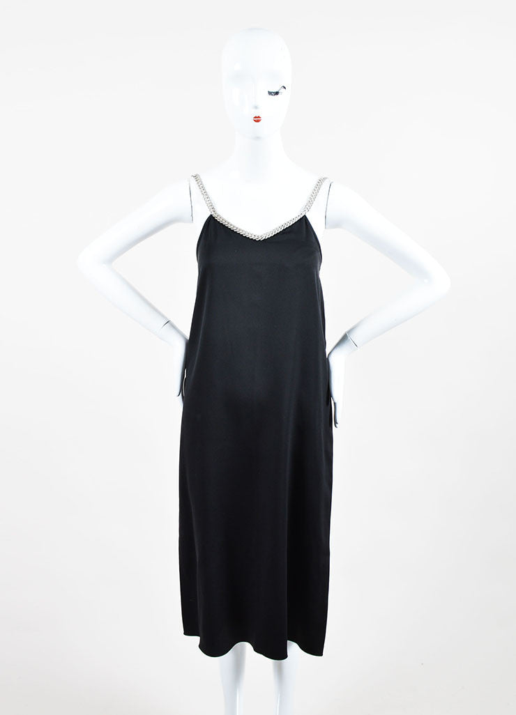 Black and Silver Celine Silk Chain Link Straps Sleeveless Dress Frontview