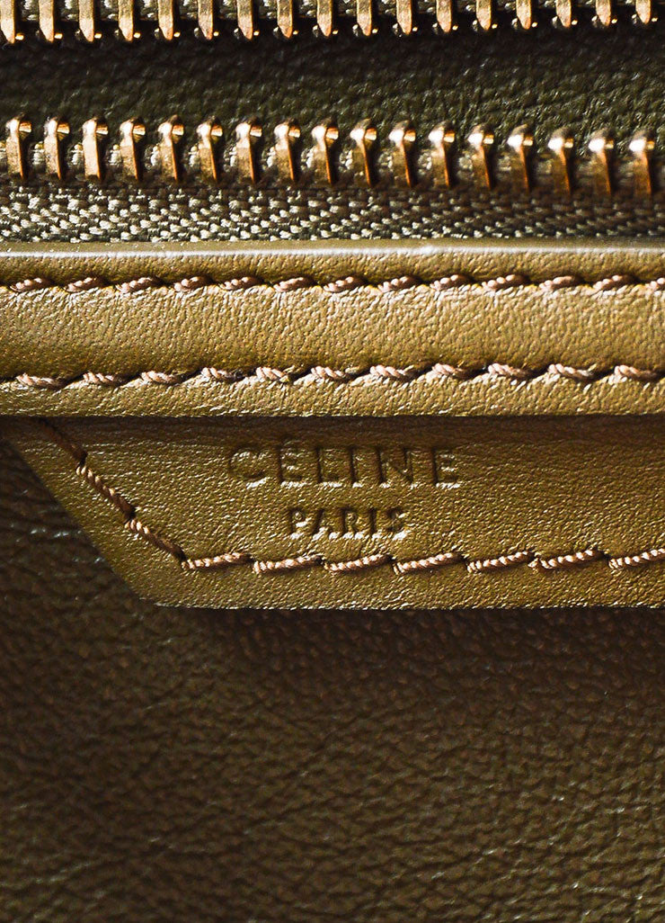 "Celine Olive Green Leather ""Mini Luggage Tote"" Bag Brand"
