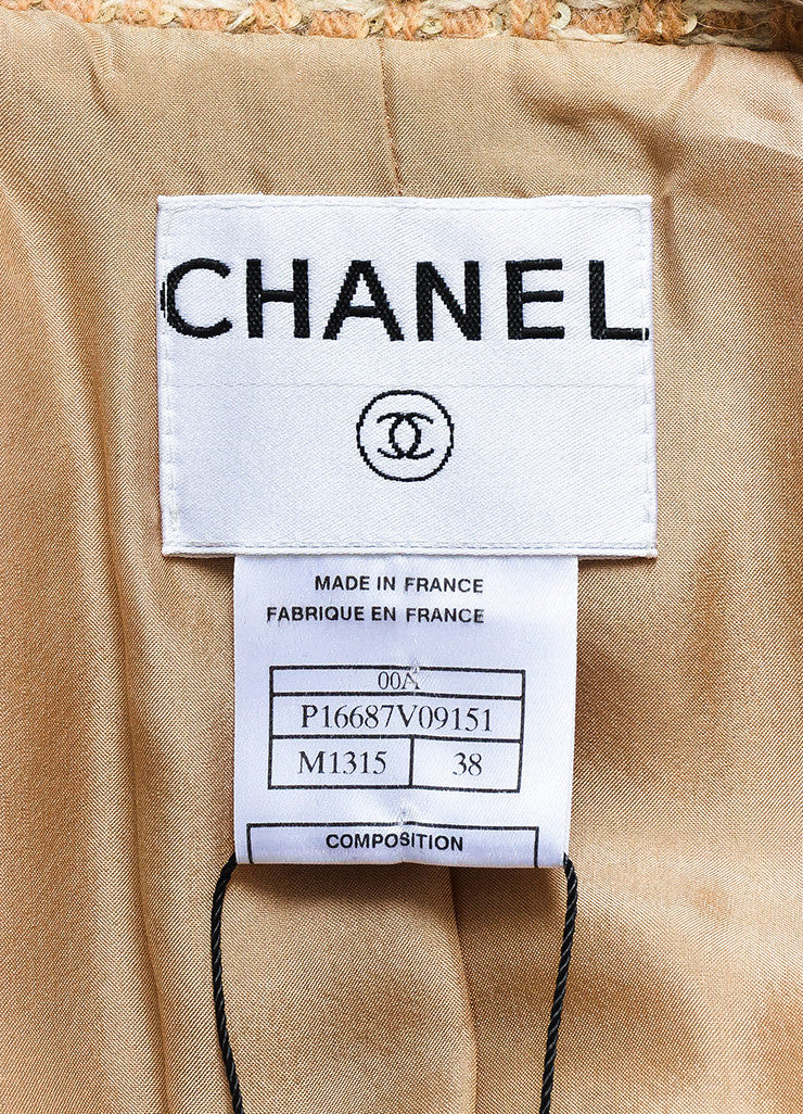 Chanel Tan and Cream Wool Blend Woven Patterned Sequin Coat Brand