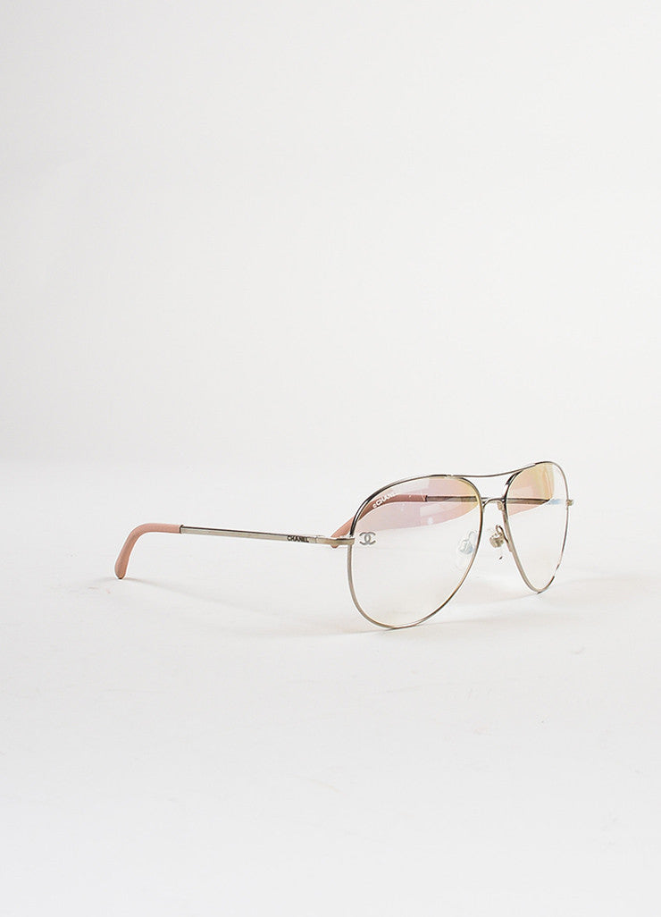 "Chanel Pink and Silver Toned Titanium ""Pilot Signature"" Mirrored Sunglasses Sideview"