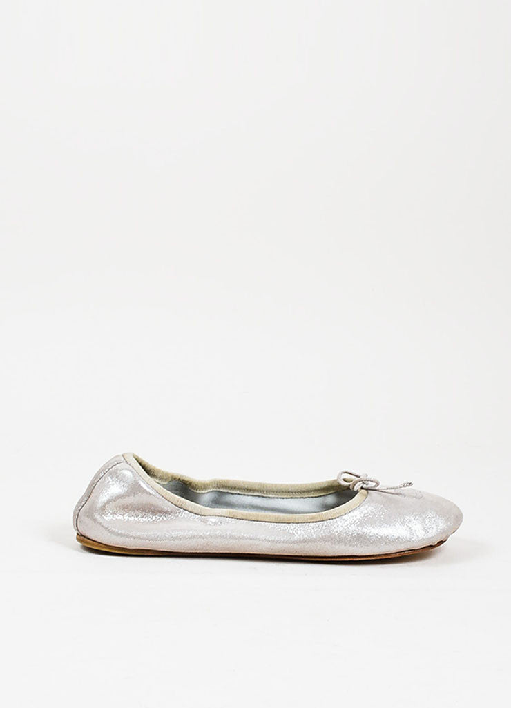 Silver Metallic Chanel Suede Leather Bow Tie 'CC' Ballerina Flats Sideview