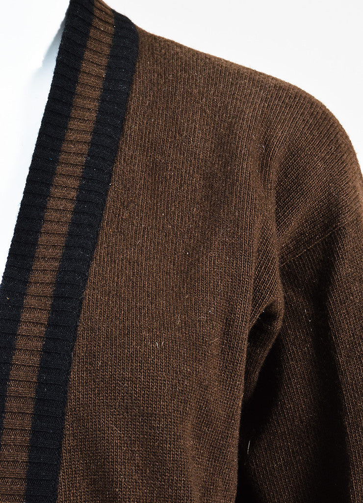 Chanel Black and Brown Wool Striped Purse Button Cardigan Sweater Detail