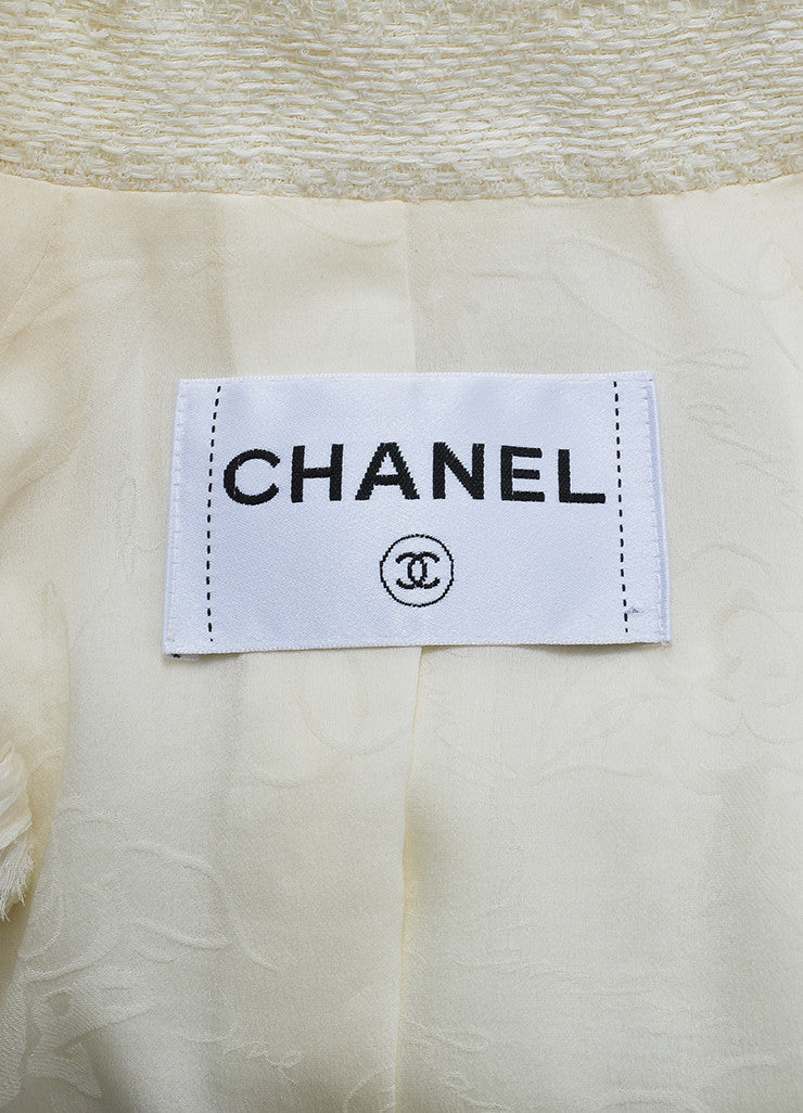 Cream and Gold Chanel Woven Knit Chain Trim Fringe Crop Sleeve Blazer Brand