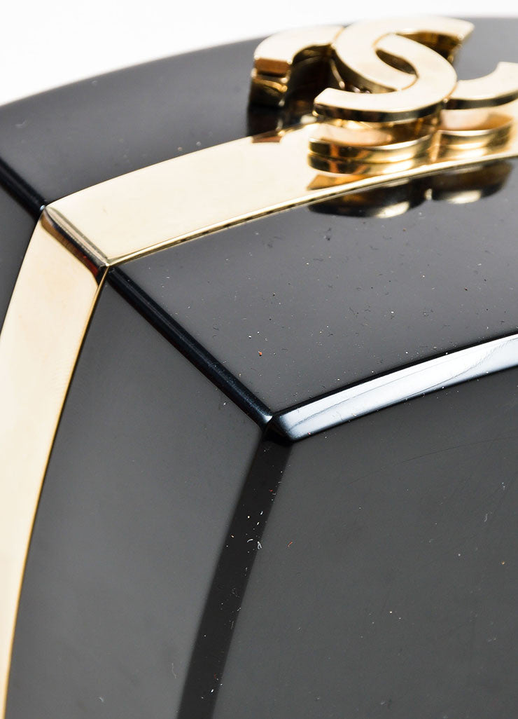 Black and Gold Toned Chanel Lucite Plexiglass 'CC' Jewelry Box Bag Detail