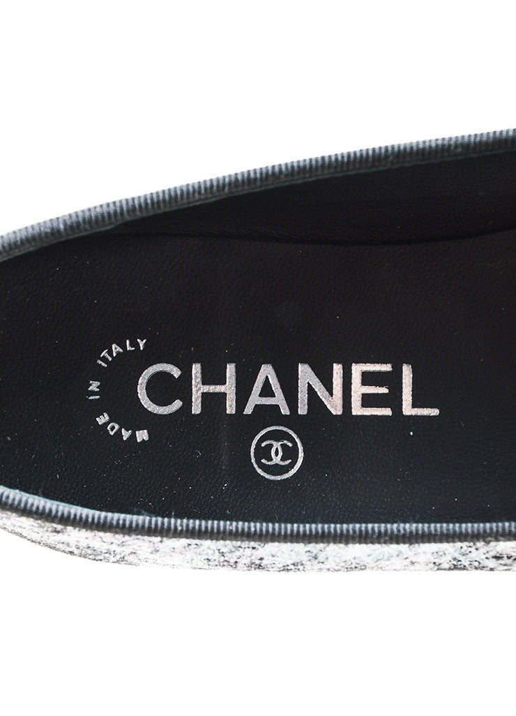 Metallic Silver and Black Chanel Hologram Leather 'CC' Cap Toe Ballet Flats Brand