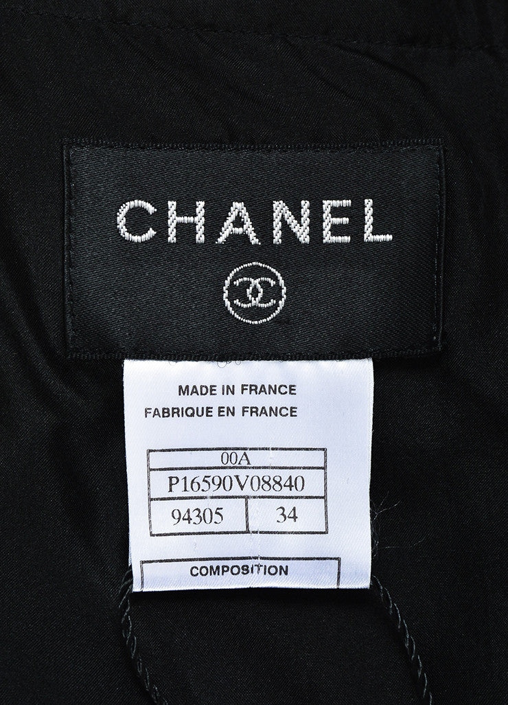 Chanel Black Silk 'CC' Detail Sleeveless Flounce Hem Slip Dress Brand