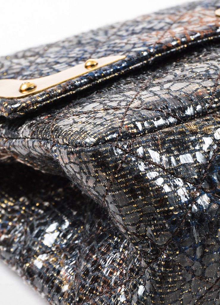 Chanel Special Edition Grey Coated Lacquered Tweed Gold Hardware Crossbody Bag Detail