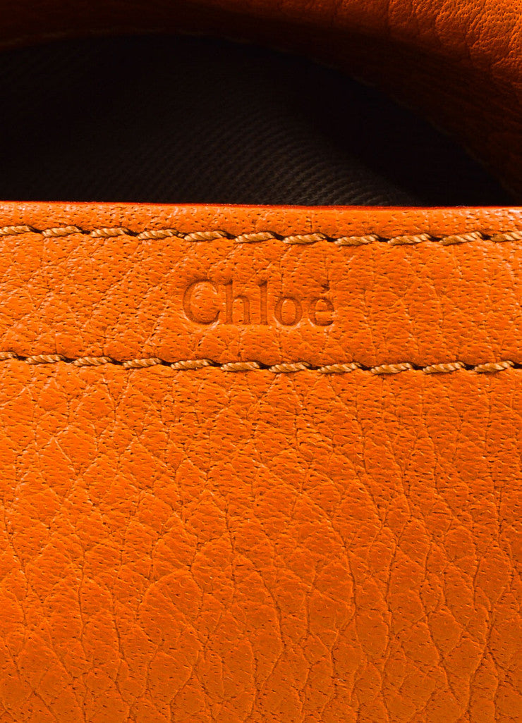 "Orange Chloe Grained Leather Saddle Crossbody ""Marcie"" Bag Brand"