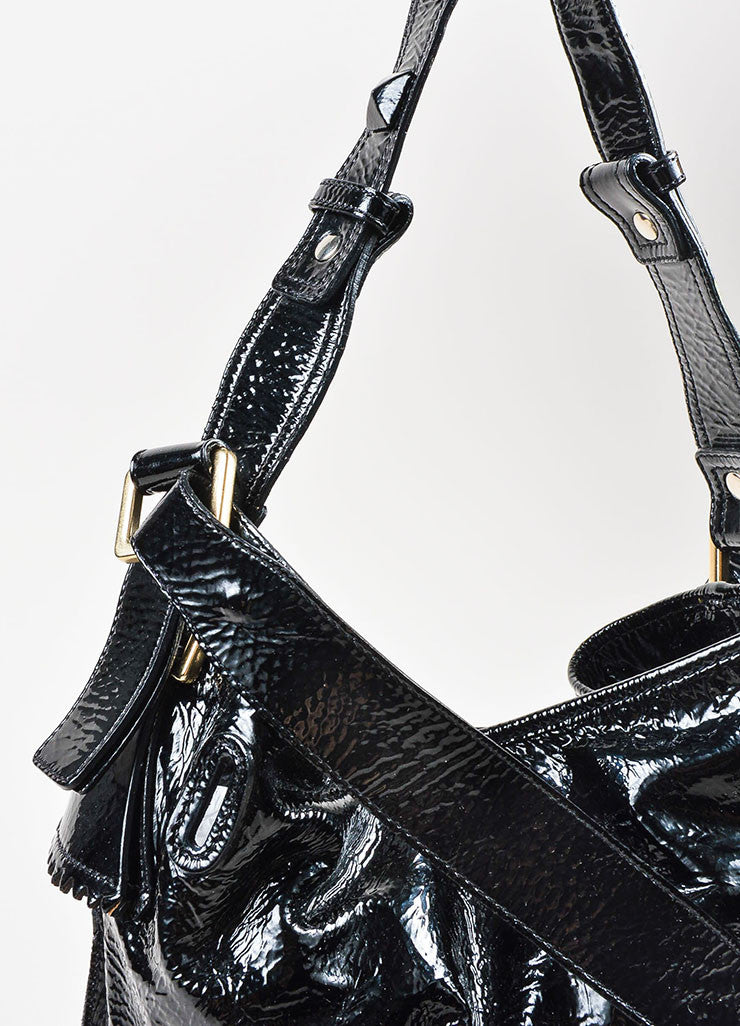 "Chloe Black Patent Crinkle Leather Pyramid Studded ""Elvire"" Shoulder Bucket Bag Detail 2"