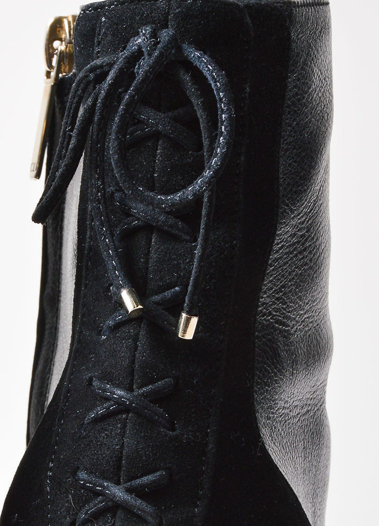 Christian Dior Black Leather and Suede Lace Up Heeled Ankle Boots Detail 2