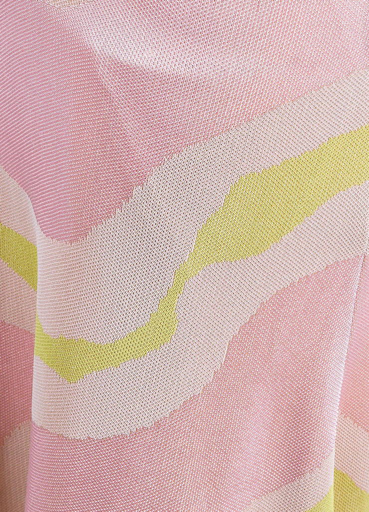 Christian Dior Pink and Cream Jersey Patterned Long Sleeve Maxi Dress Detail