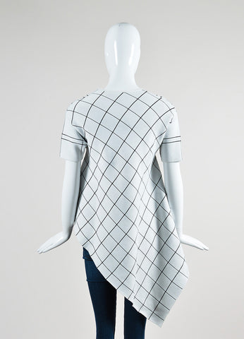 Derek Lam White and Black Thick Knit Windowpane Asymmetrical Short Sleeve Tunic Top Backview