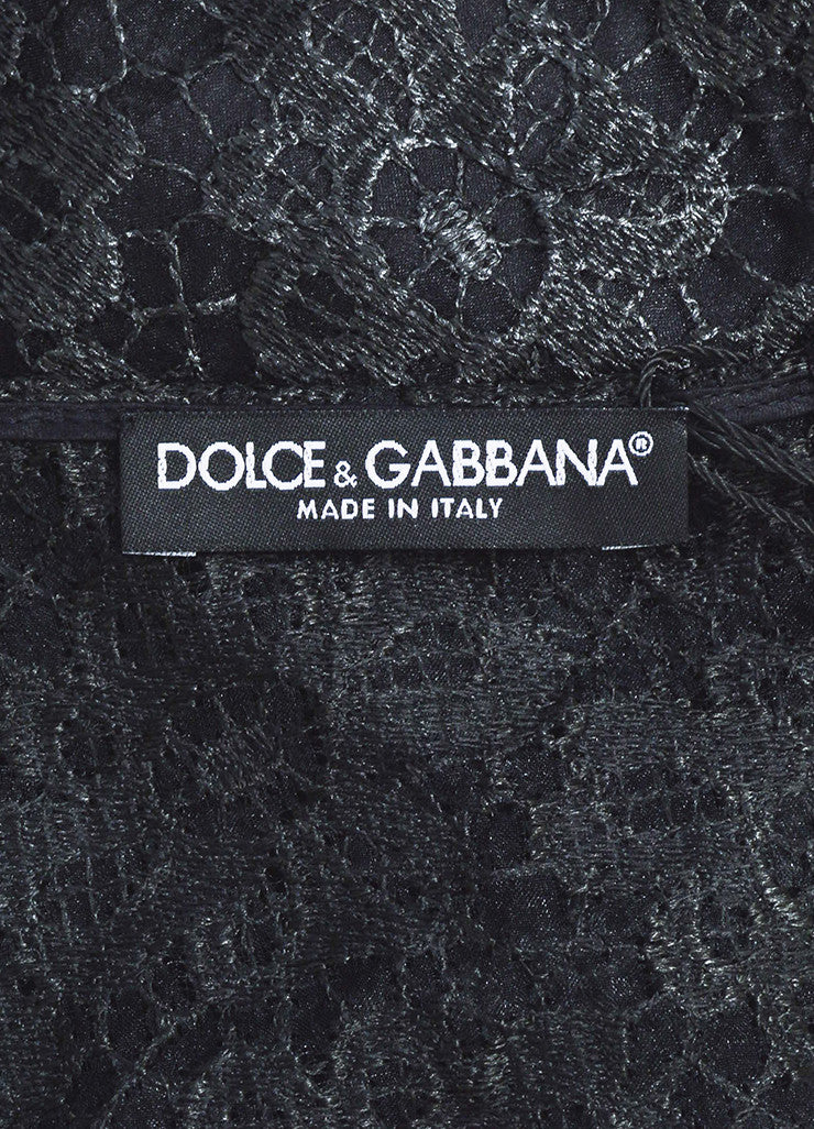Dolce & Gabbana Black Floral Embroidered Lace Belted Shift Dress Brand