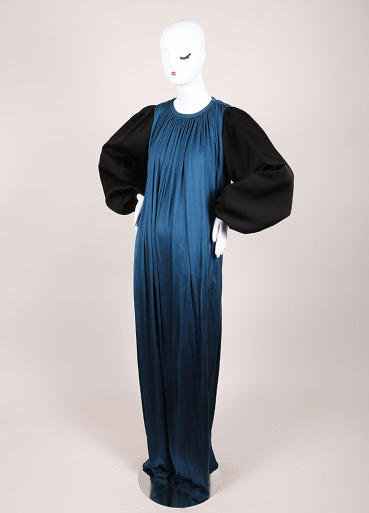 Giambattista Valli Teal and Black Silk Long Puff Sleeve Maxi Dress Sideview