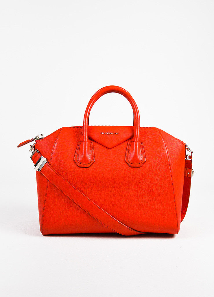 "Givenchy Red and Silver Toned Goat Leather Top Handle Medium ""Antigona"" Bag frontview"
