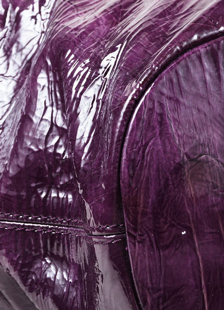 "Givenchy Eggplant Crinkled Patent Leather ""Nightingale"" Satchel Bag Detail"