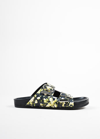Givenchy Black Leather Baby's Breath Birkenstock Slide Sandals Sideview