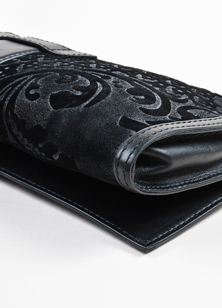 "Gucci Black Suede Leather Distressed Brocade ""Soft Stirrup"" Clutch Bag Detail"