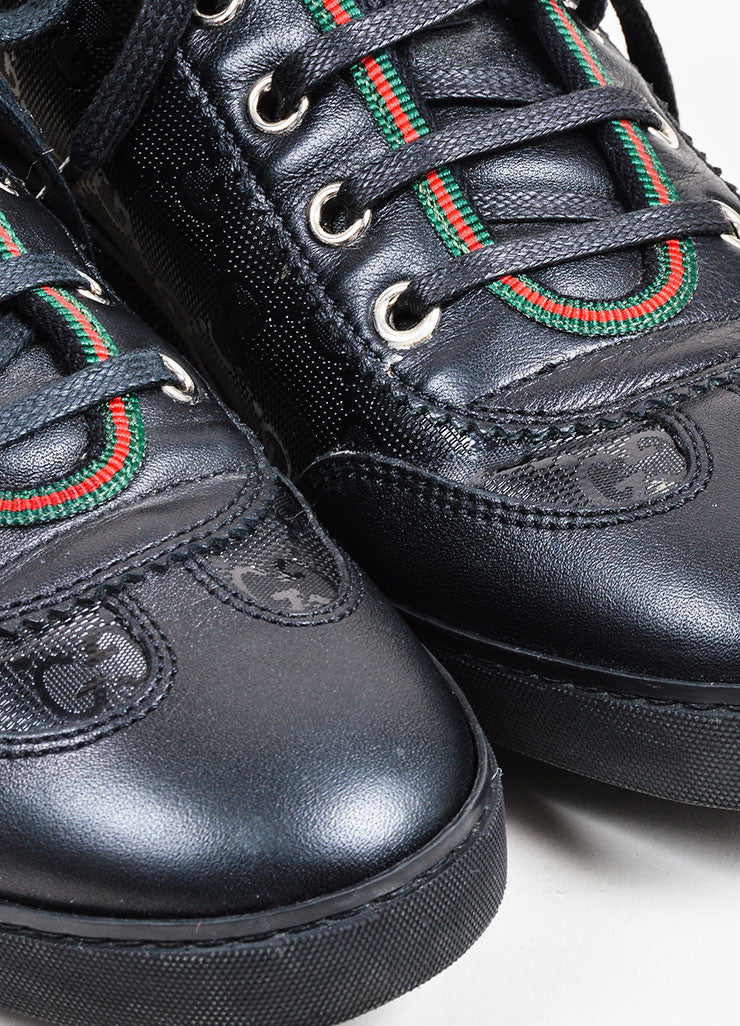 Black Gucci Monogram Leather Lace Up Low Top Sneakers Detail