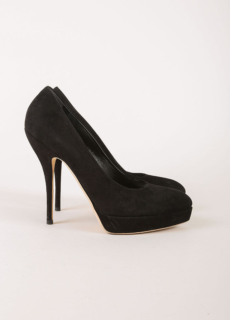 Gucci Black Suede Leather Pointed Toe Platform Pumps Sideview