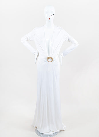 Gucci Cream Jersey Open Back Gold Toned Dragon Long Sleeve Gown Frontview