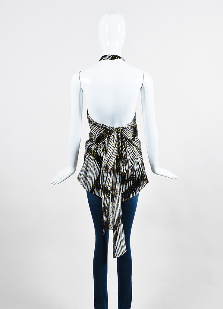 Black, White, and Metallic Gold Gucci Silk Stripe Flecked Sheer Halter Top Backview