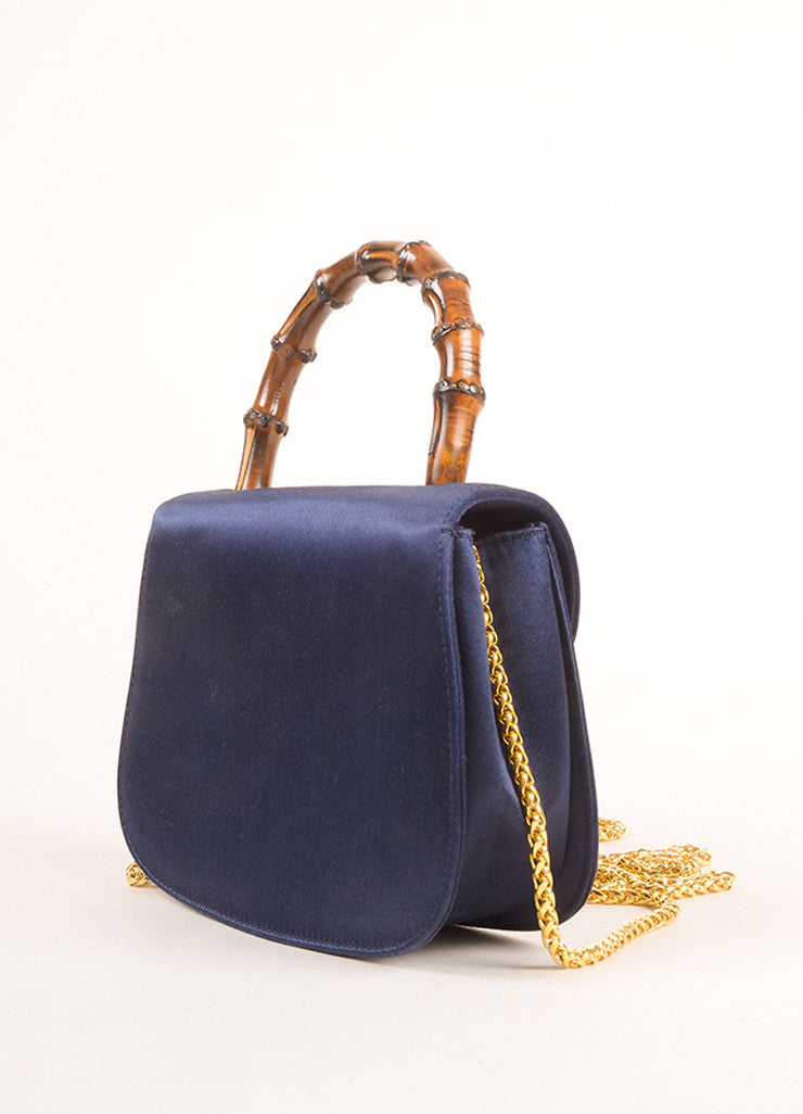 Gucci Navy and Gold Toned Satin Bamboo Handle Chain Strap Evening Bag Sideview