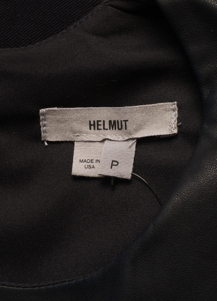 HELMUT Helmut Lang New With Tags Black Leather Knit Contrast Sleeveless Dress Brand