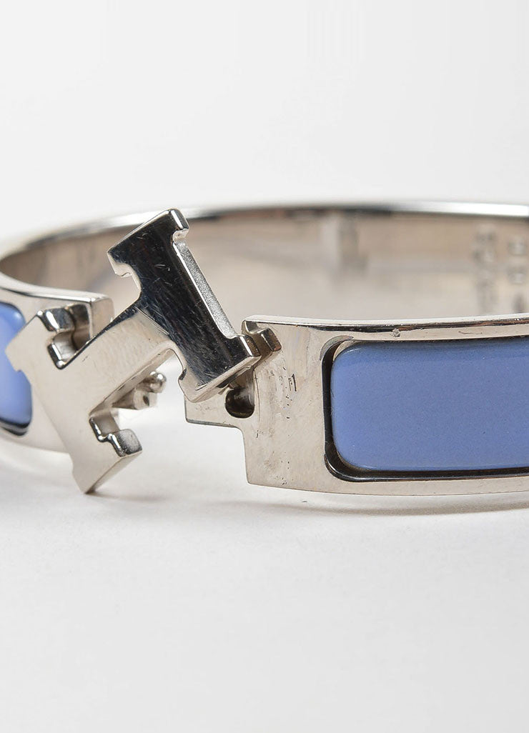 "Silver Toned and Purple Hermes Enamel ""Clic H PM"" Hinged Narrow Bangle Bracelet Detail"