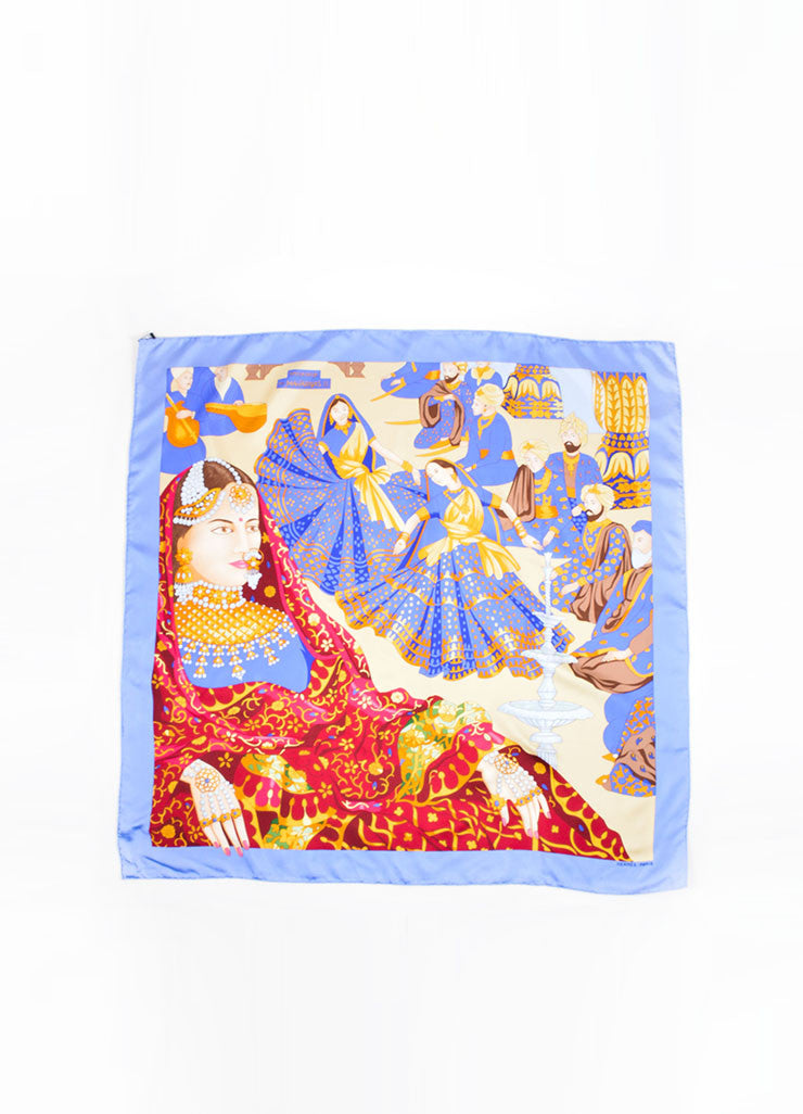 Hermes Blue, Yellow and Red Silk Printed Scarf Front