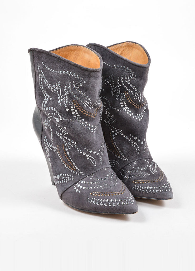 Grey Suede Leather Contrast Studded Pointed Toe Wedge Boots